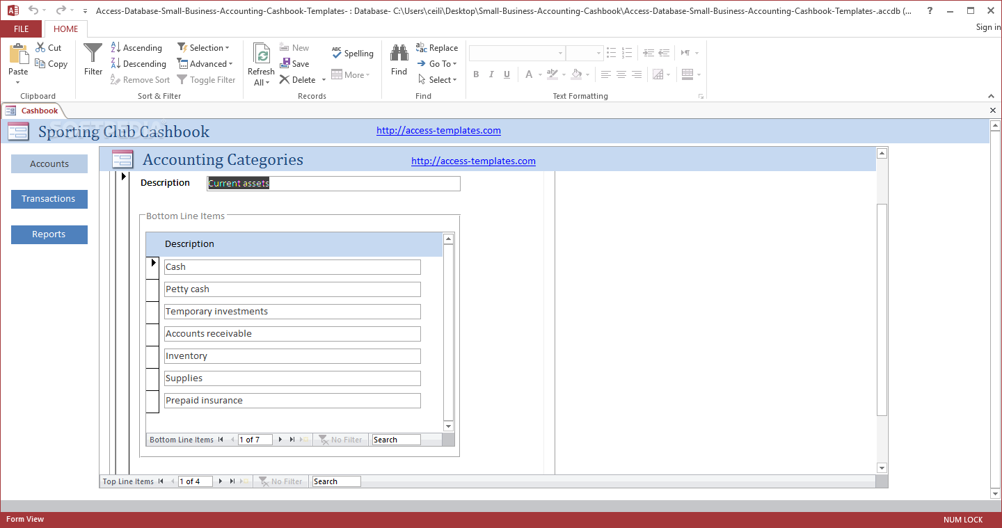Download Small Business Accounting Cashbook Access Database