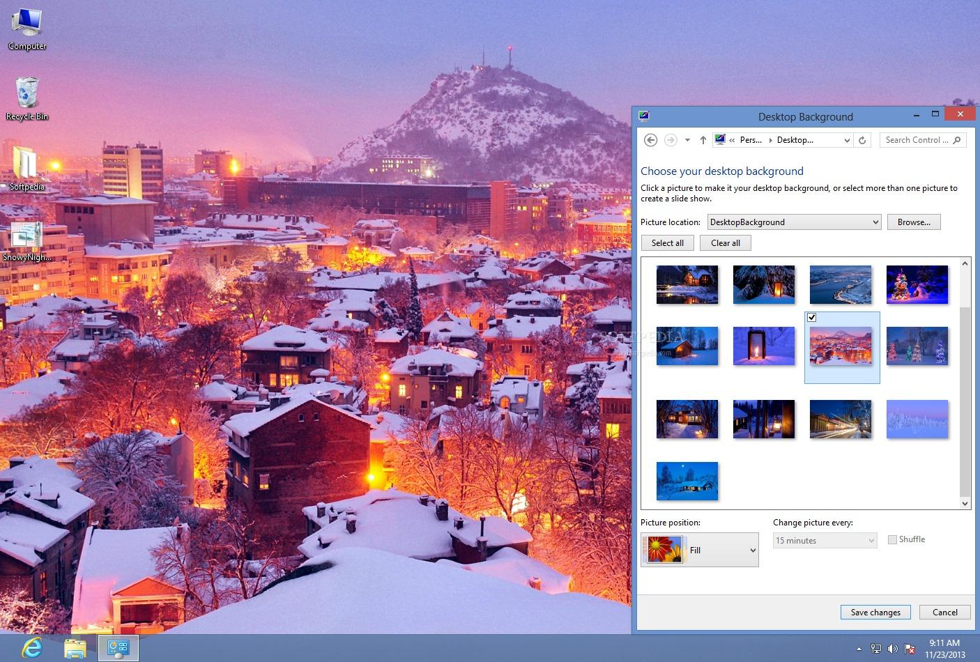 download snowy night theme