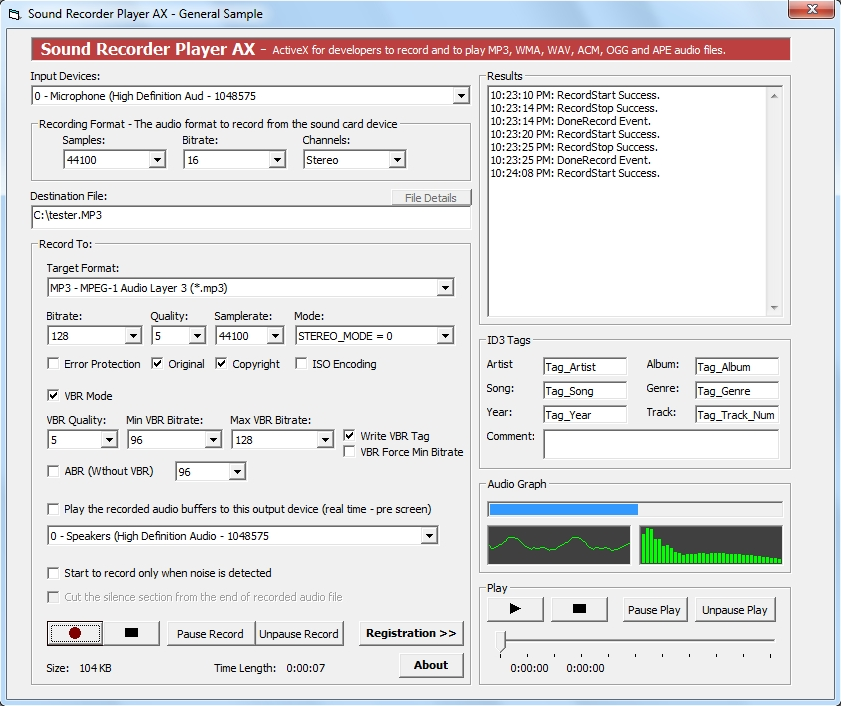Sound Recorder Player ActiveX is an ActiveX component designed for software