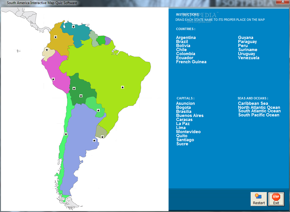 America south america map quiz download this south america interactive map quiz software this the main window picture gumiabroncs Choice Image