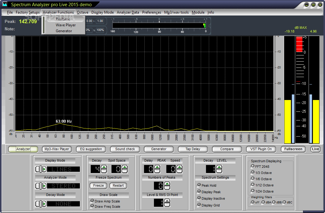 Spectrum Analyzer pro Live - Users will be able to access options such as I