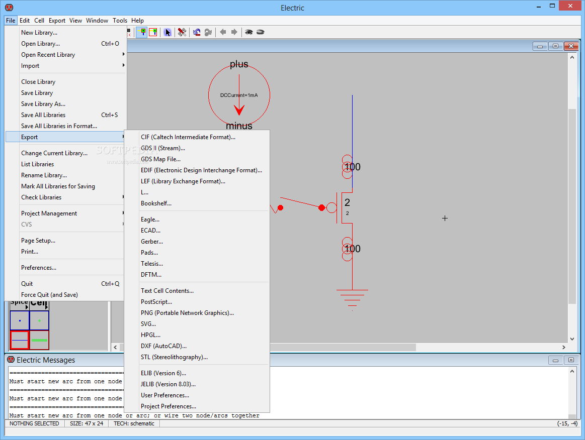 Download Electric 905 Electronic Circuit Design Program Free You Can Use The File Menu To Import Libraries And Export
