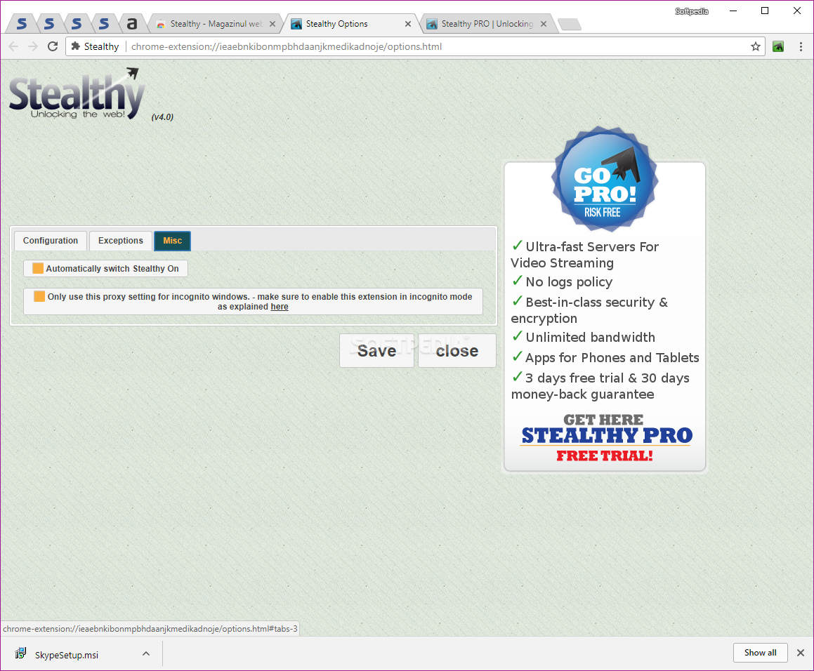 Stealthy: access restricted/ blocked websites in chrome and firefox.