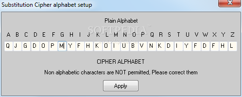 Substitution Cipher - From the Substitution Cipher alphabet setup window of
