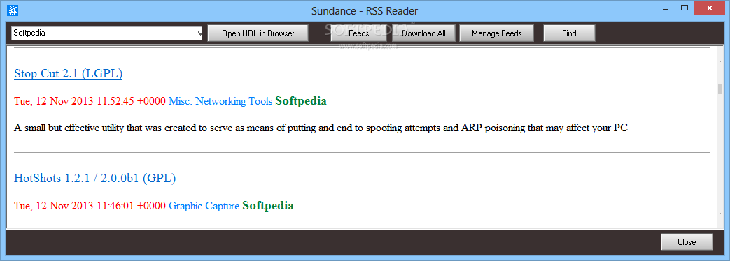 SunDance screenshot 3 - The RSS reader of SunDance allows you to add your favorite links and read the latest news.