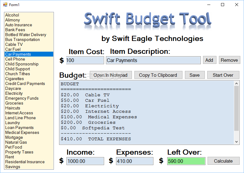 download swift budget tool 1 0 0 1
