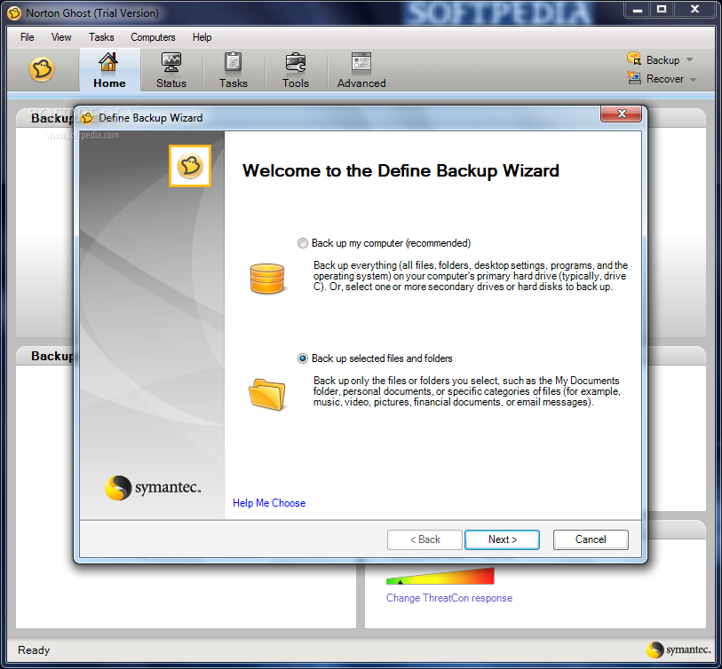 Norton Ghost screenshot 1 - When you launch Norton Ghost for the first time, you will be required to choose the files you want to backup