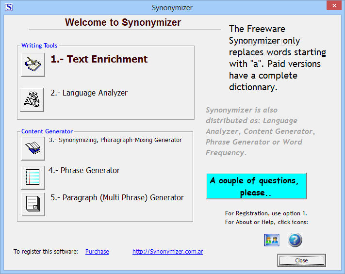 Text Synonymizer 2.1 Free Download hit