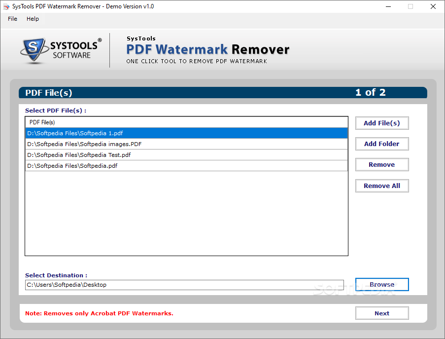 Download SysTools PDF Watermark Remover 1 0 0 0