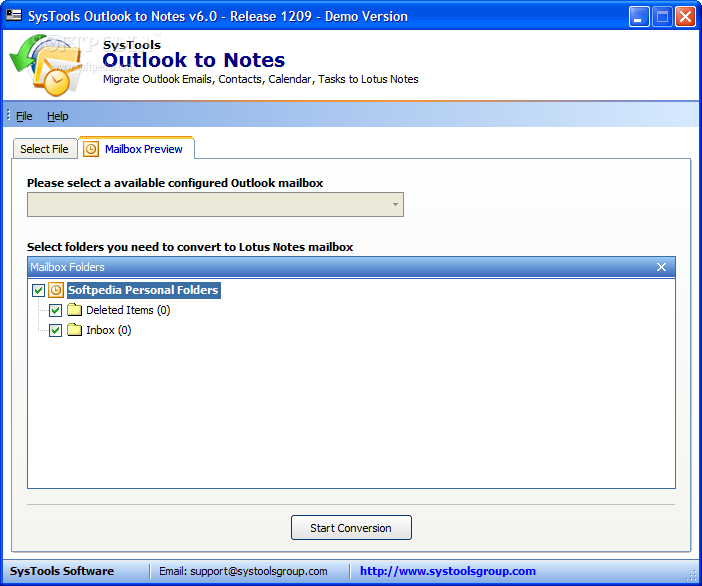 Convert outlook to notes 6.0