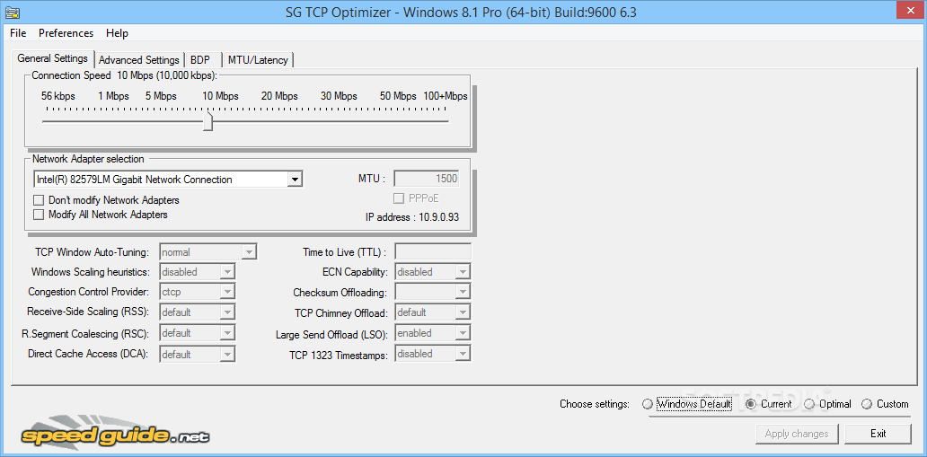 sg tcp optimizer how to use