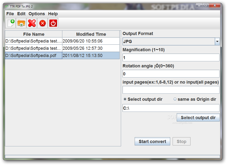 TTR PDF To JPG screenshot 1 - The main window of TTR PDF To JPG enables you to select the files to convert.
