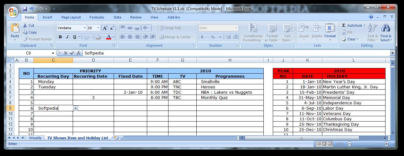 program schedule template excel