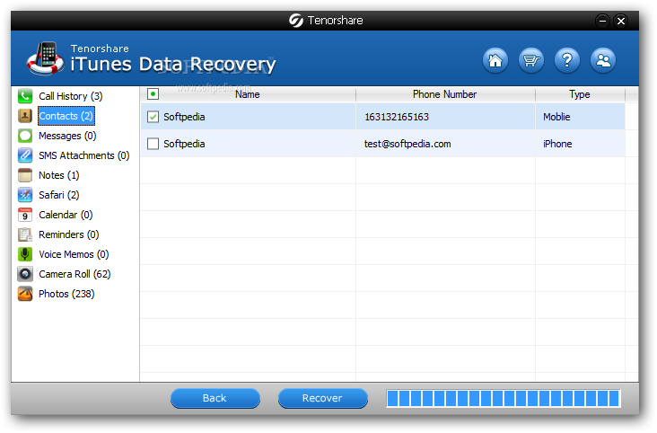 iTunes Data Recovery Activated
