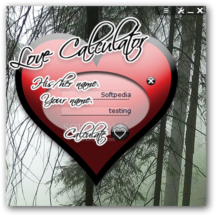 "love calculator. ""Just input the name of your loved one and yours into the Love Calculator"