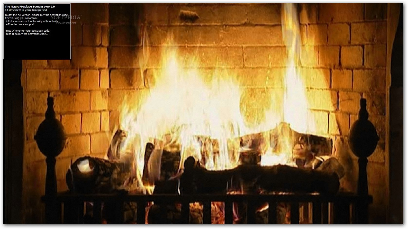 Free Download The Magic Fireplace Screensaver 2.00 - A screensaver that displays a burning fireplace