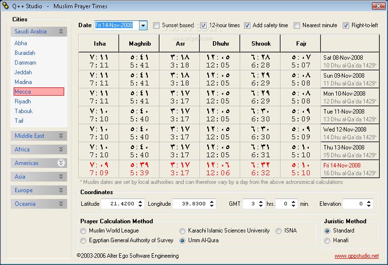 Download The Q++ Salat Calculator Muslim Prayer Times 2 0