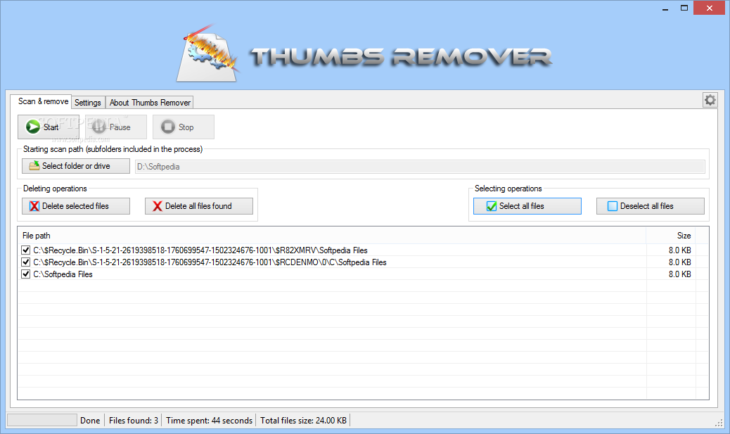 Thumbs Remover screenshot 1 - Thumbs Remover allows you to easily set the path to be scanned and delete the Thumbs.db files discovered.