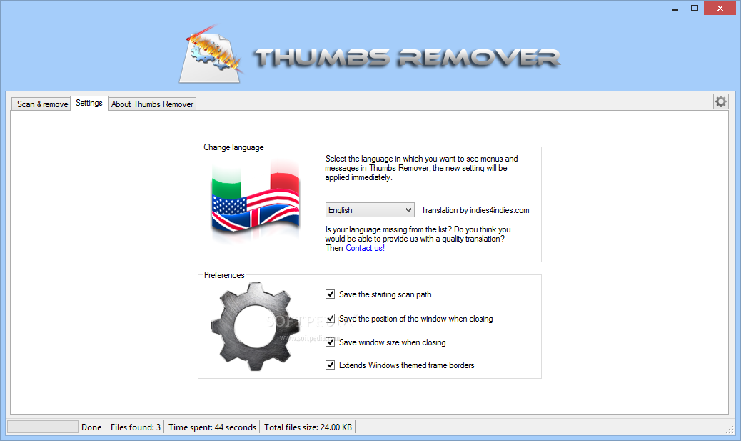 Thumbs Remover screenshot 2 - To configure the running options of Thumbs Remover you can modify the preferences from the Settings' menu.