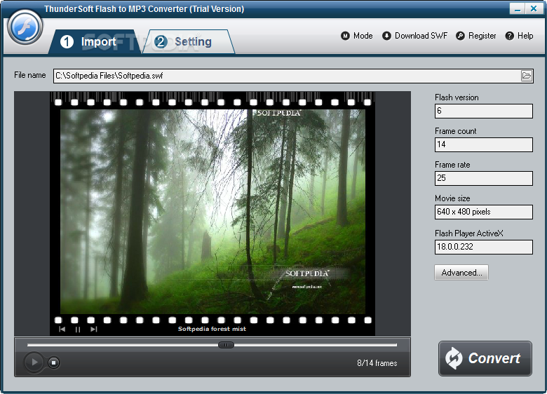 ThunderSoft Flash to MP3 Converter screenshot 1 - The main window of ThunderSoft Flash to MP3 Converter allows you to import the Flash file and preview its content