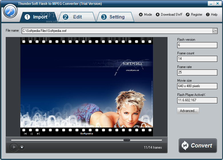 ThunderSoft Flash to MPEG Converter screenshot 1 - The main window of the application allows users to preview the SWF file they want to convert to MPEG