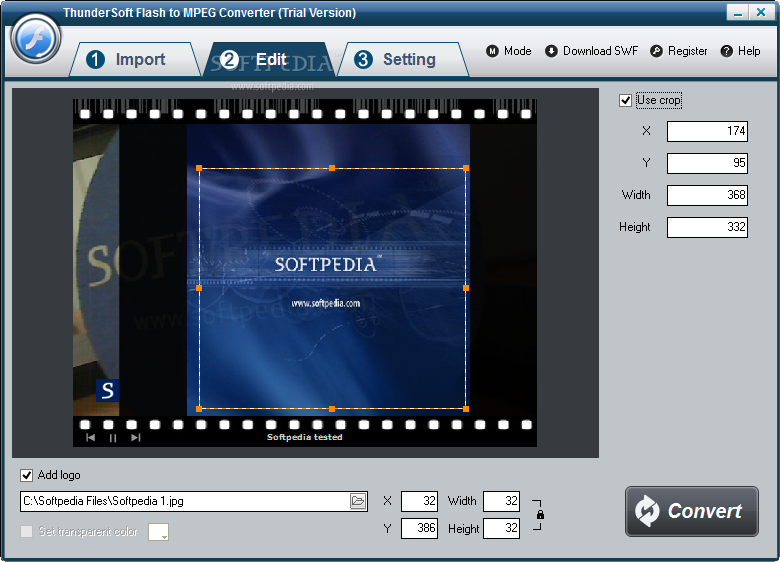ThunderSoft Flash to MPEG Converter screenshot 2 - You can access the Advanced setting window when you want to configure the variables and parameters of the application