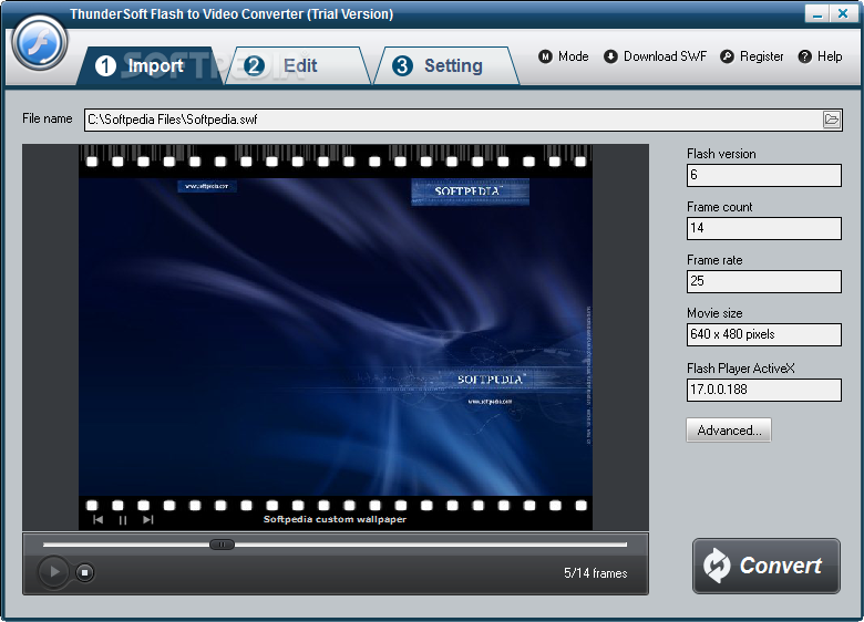 ThunderSoft Flash to Video Converter screenshot 1 - The Import tab shows details about the loaded SWF file like frame count, frame rate and movie size