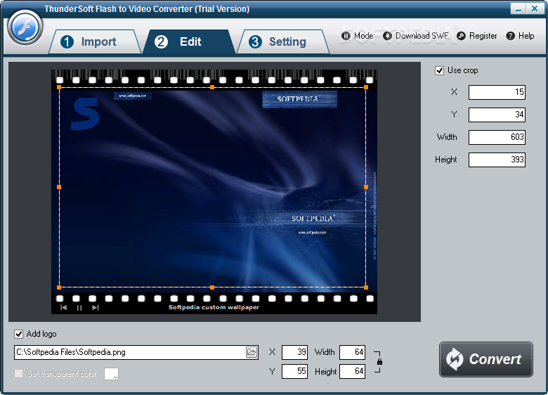 ThunderSoft Flash to Video Converter screenshot 2 - The Edit tab allows users to crop the video file by height and width and to add a watermark image