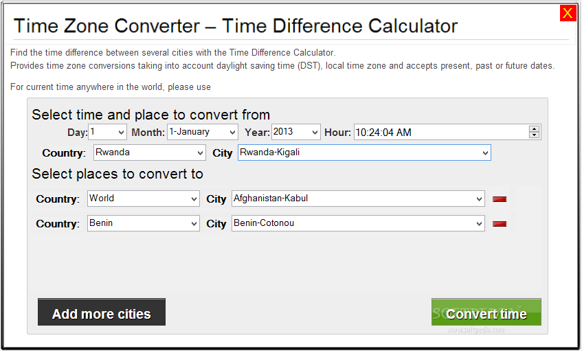 Online date time difference calculator
