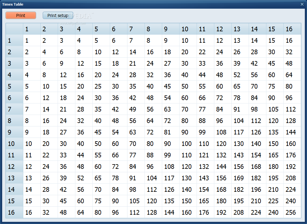 Times Table - The software offers a preview of the time table ...