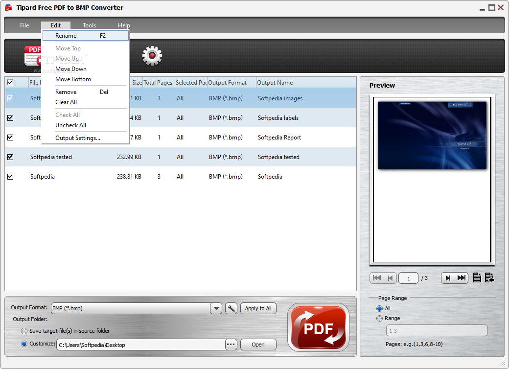 Download Tipard Free PDF to BMP Converter 3.1.8