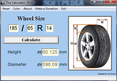 Tire Diameter Calculator >> Download Tire Calculator 2010 1.0.10.100