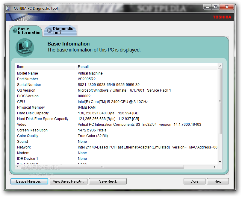 Download Toshiba Pc Diagnostic Tool 3 2 6