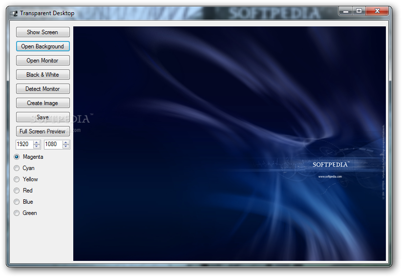 The main window of Transparent Desktop allows you to preview the image ...