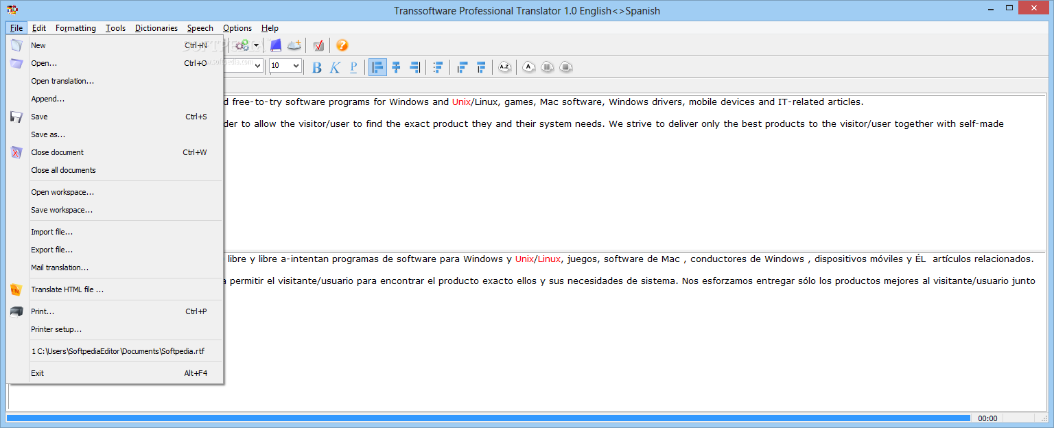 translate a pdf file from spanish to english