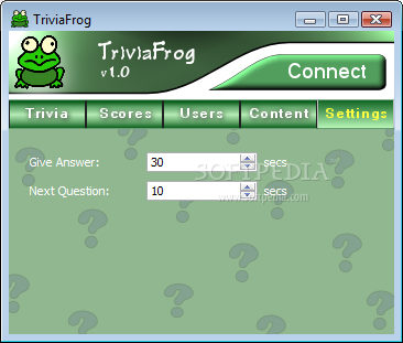 TriviaFrog screenshot 4 - TriviaFrog's Settings window enables you to customize the application's behavior according to your needs and preferences.