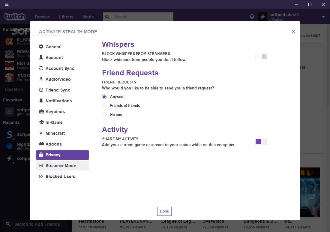 twitch desktop mode