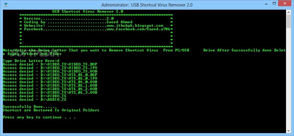 usb shortcut virus remover software free download