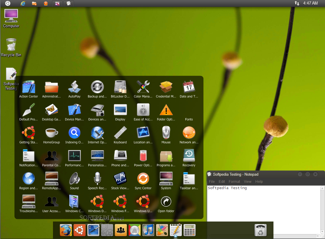 Ubuntu Skin Pack screenshot 2 - Ubuntu Skin Pack will provide new icons, new position for the taskbar, new window styles and more.