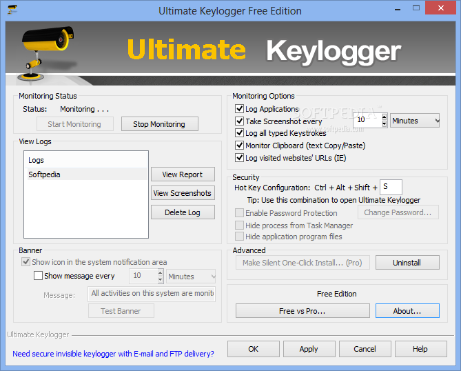 Ultimate Keylogger Free Edition screenshot 1 - Ultimate Keylogger Free Edition will provide users with a handy and reliable tool to record keystrokes, emails, chats and visited websites