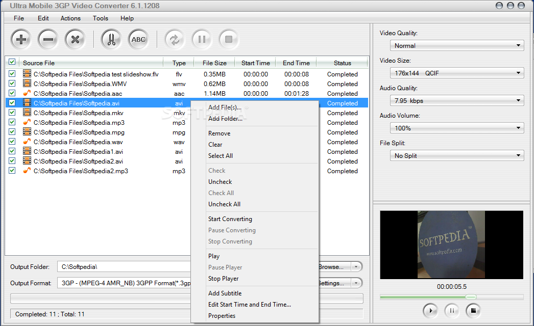 Ultra Mobile 3GP Video Converter - From the Output Format tab, the users ca