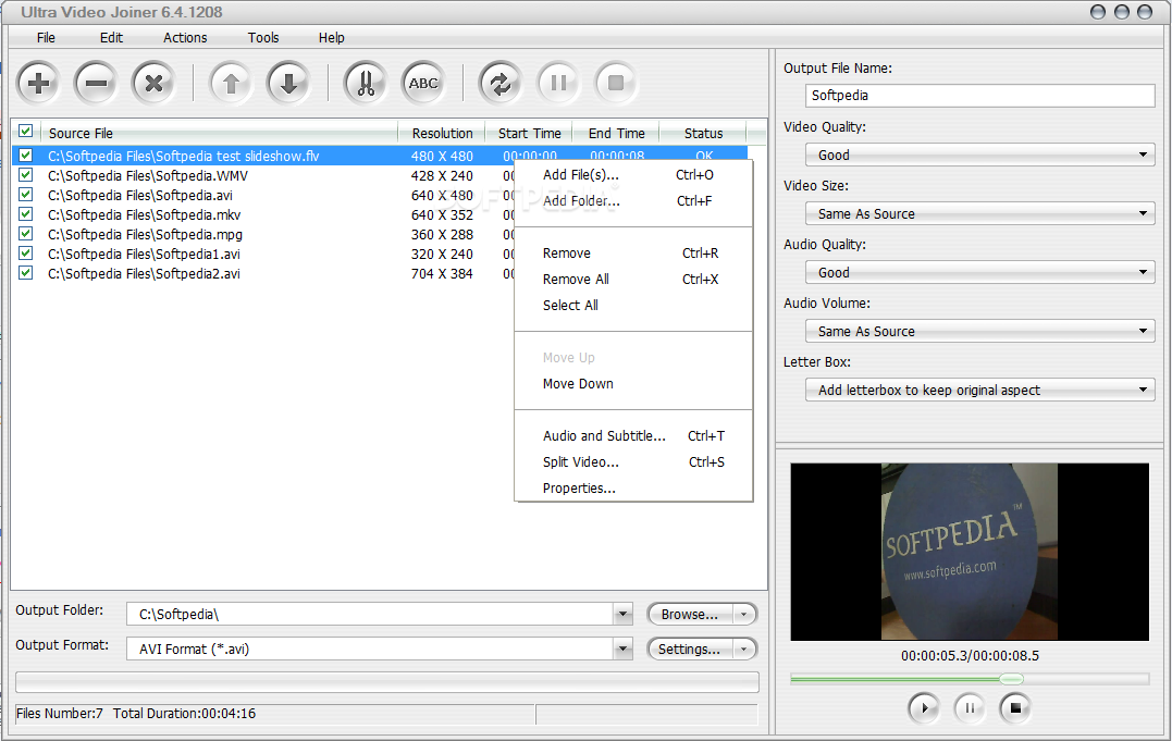 Download Ultra Video Joiner 6.4.1208 ... Ultra Video Joiner - You can use the right-click menu to add single  videos ...
