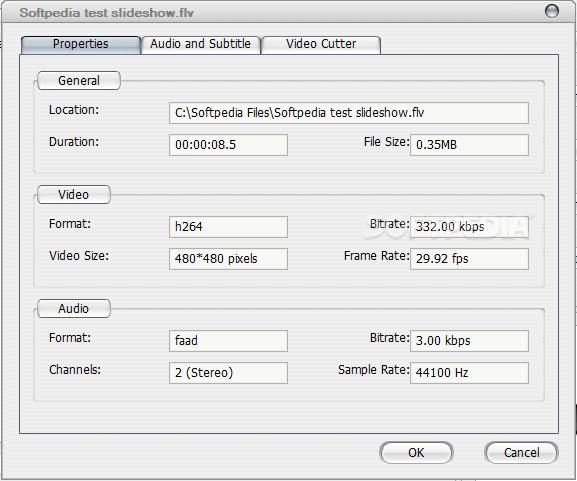 Download Ultra Video Joiner 6.4.1208 ... Ultra Video Joiner - The Properties tab displays video and audio  format, bitrate, ...