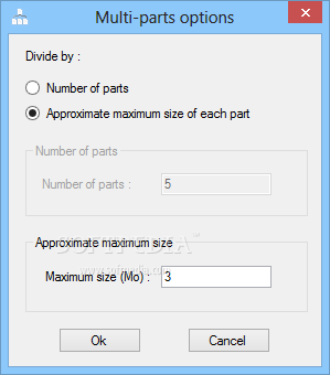 UnityPDF screenshot 4 - The Multi-parts options window allows you to split your PDF file into a certain number of parts