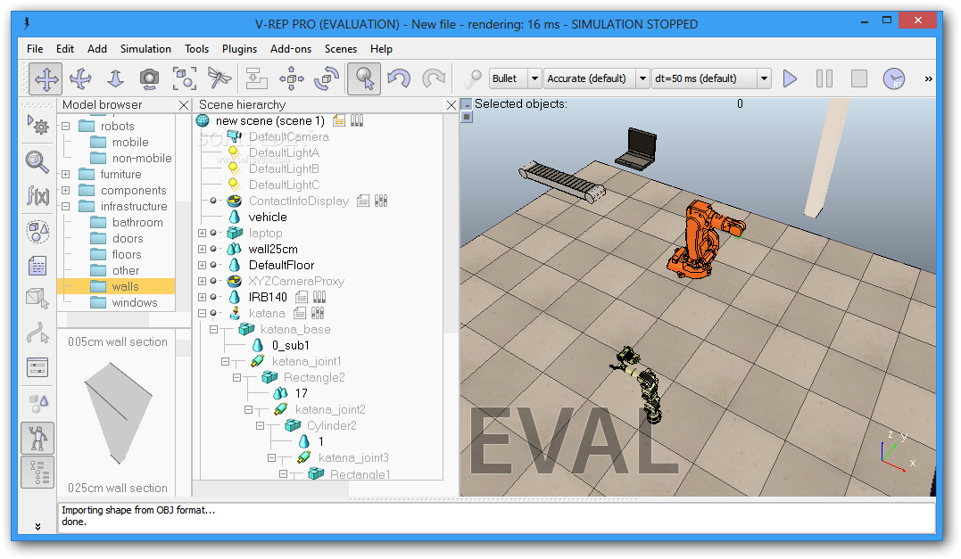 V-REP screenshot 1 - The main window of V-REP allows you to design the models and scenes you need.