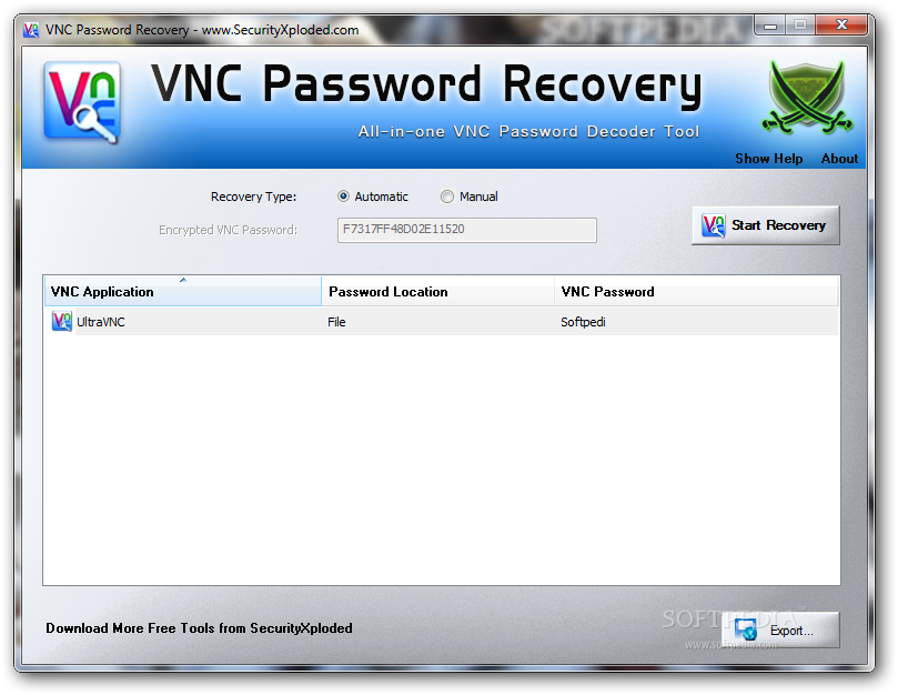 Download VNC Password Recovery Portable 1 0