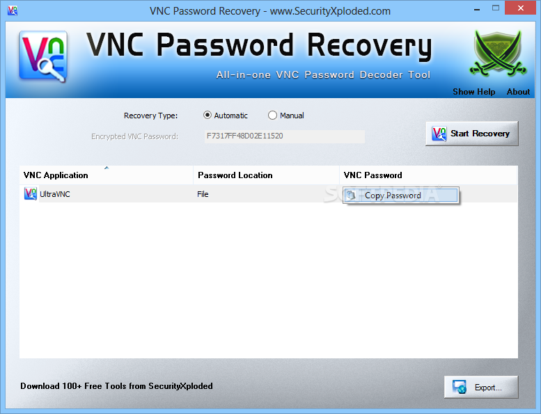 Download VNC Password Recovery 4 0