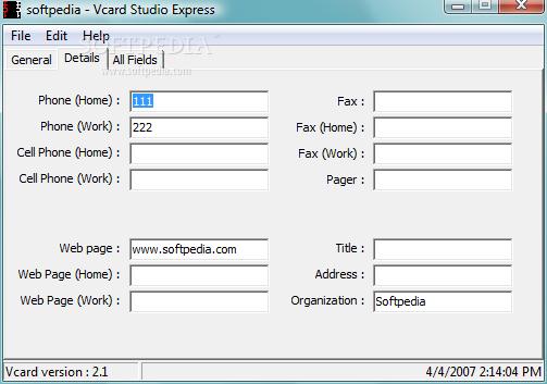 Download Vcard Studio Express 1 0 0 0