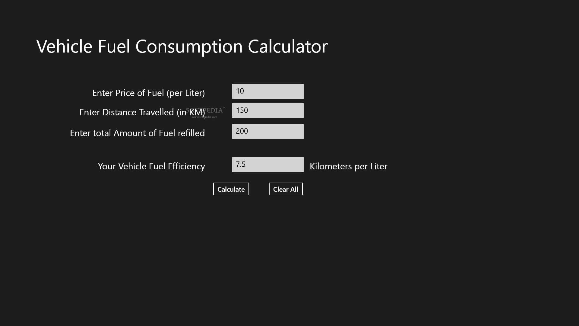 Vehicle Fuel Consumption Calculator Allows You To Calculate The Efficiency