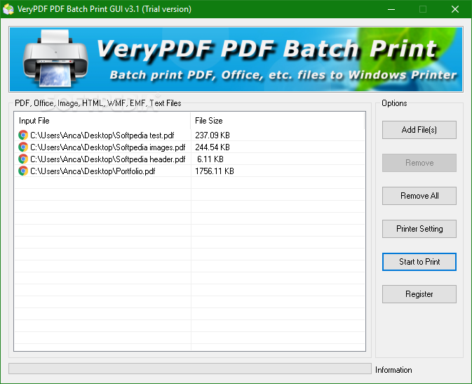 Download VeryPDF PDF Batch Print GUI 3 1